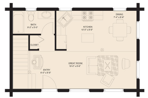 Bears Den Log Home Floorplan