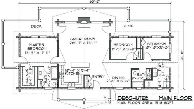 Deschutes log home floor plan duncanwoods log timber homes for Single story log home floor plans