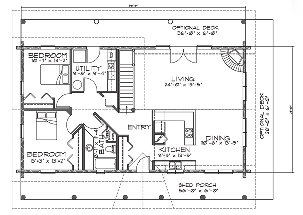 Northwoods Log Home Floor Plan