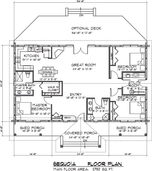 Sequoia Log Home Floor Plan