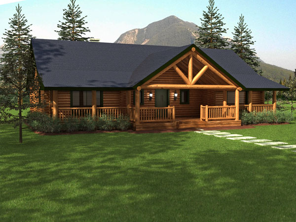 Sequoia log home floor plan duncanwoods log timber homes for Log cabin ranch floor plans