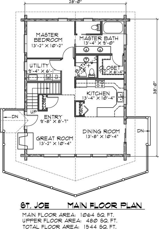 St. Joe Log Home Floor Plan