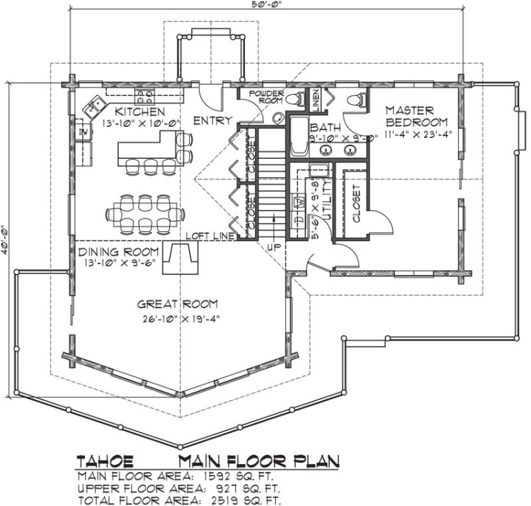 Tahoe Log Home Floor Plan