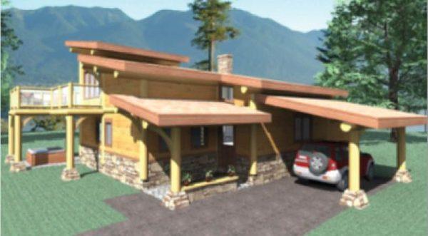Whitehorse Log Home Floor Plan